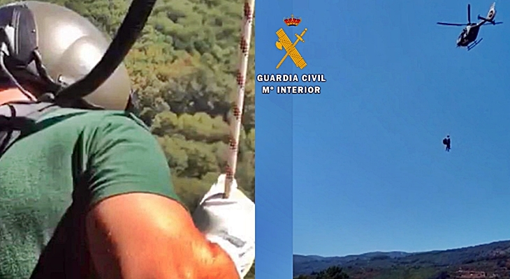 La Guardia Civil rescata a una barranquista accidentada en una garganta extremeña