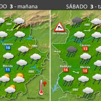 Previsión meteorológica en Extremadura. Días 3, 4 y 5 de diciembre