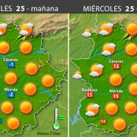 Previsión meteorológica en Extremadura. Días 25, 26 y 27 de enero