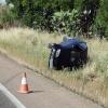 Vuelca un vehículo en la carretera de Badajoz a Olivenza