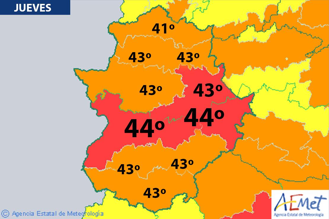 Se activa el aviso rojo en Extremadura por 44 grados