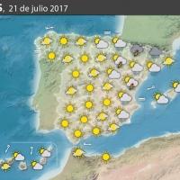 Previsión meteorológica en España. Días 21 y 22 de julio
