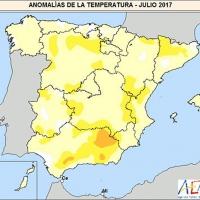 Julio 2017 en España: el octavo más cálido desde 1965 y el sexto del siglo XXI