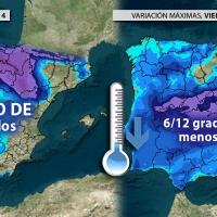 Las temperaturas caerán más de 10 grados en amplias zonas de España