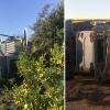 Se accidenta un tráiler con 10 vehículos en la EX100 Badajoz - Cáceres