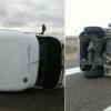 Dos heridas en el vuelco de una autocaravana en la Vía de la Plata
