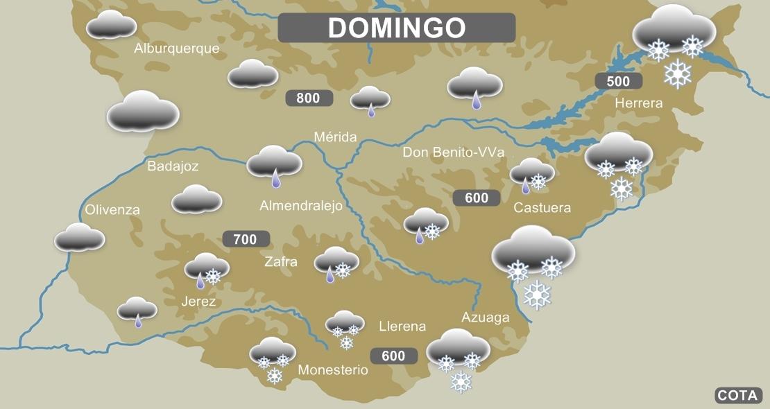 Posibles nevadas mañana domingo en la provincia de Badajoz