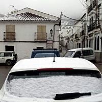 Así nieva en Cabeza la Vaca (Badajoz)