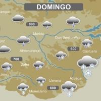 Posibles nevadas este domingo en la provincia de Badajoz