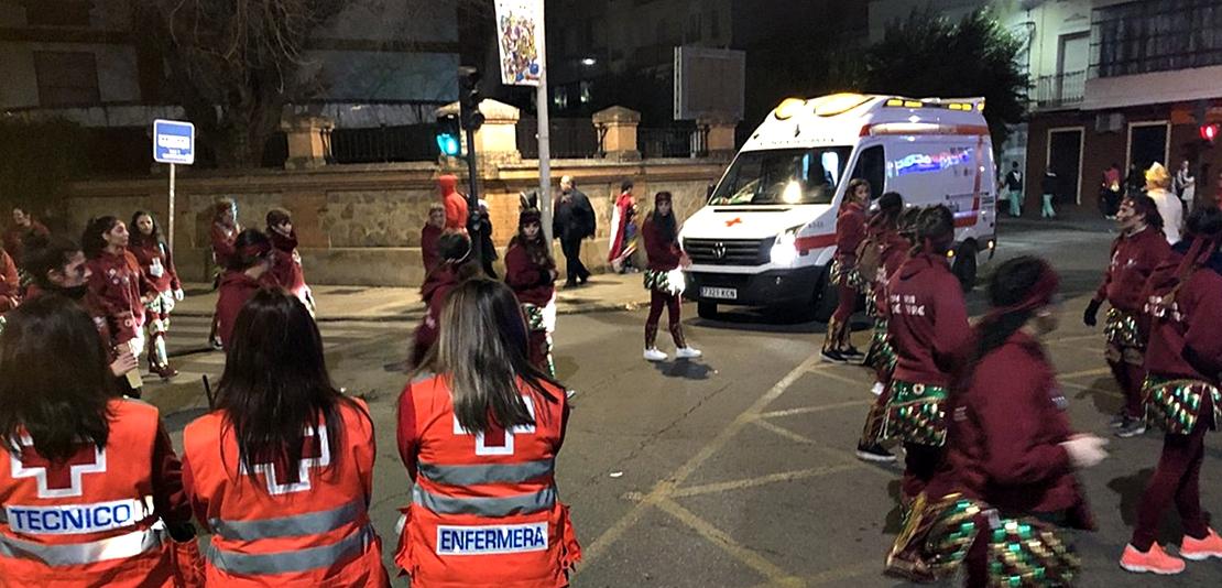 Cruz Roja realizó 36 asistencias durante el Lunes de Carnaval en Badajoz