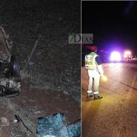 Accidente y vuelco en la carretera Badajoz - Corte de Pelas