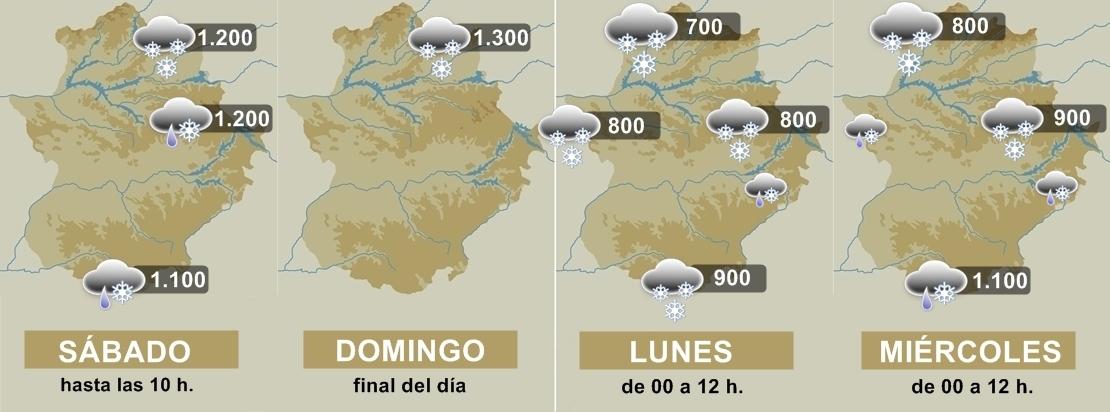 Cotas de nieve para los próximos días en Extremadura