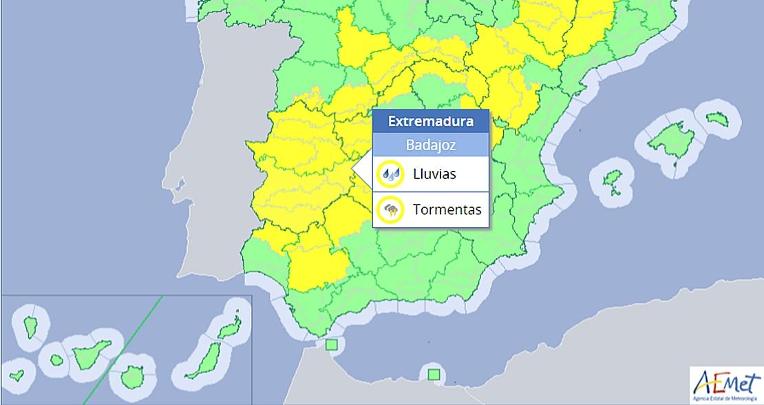 Toda Extremadura en alerta por fuertes tormentas hasta las 24:00 horas