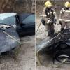 Los Bomberos actúan tras incendiarse un coche en un garaje