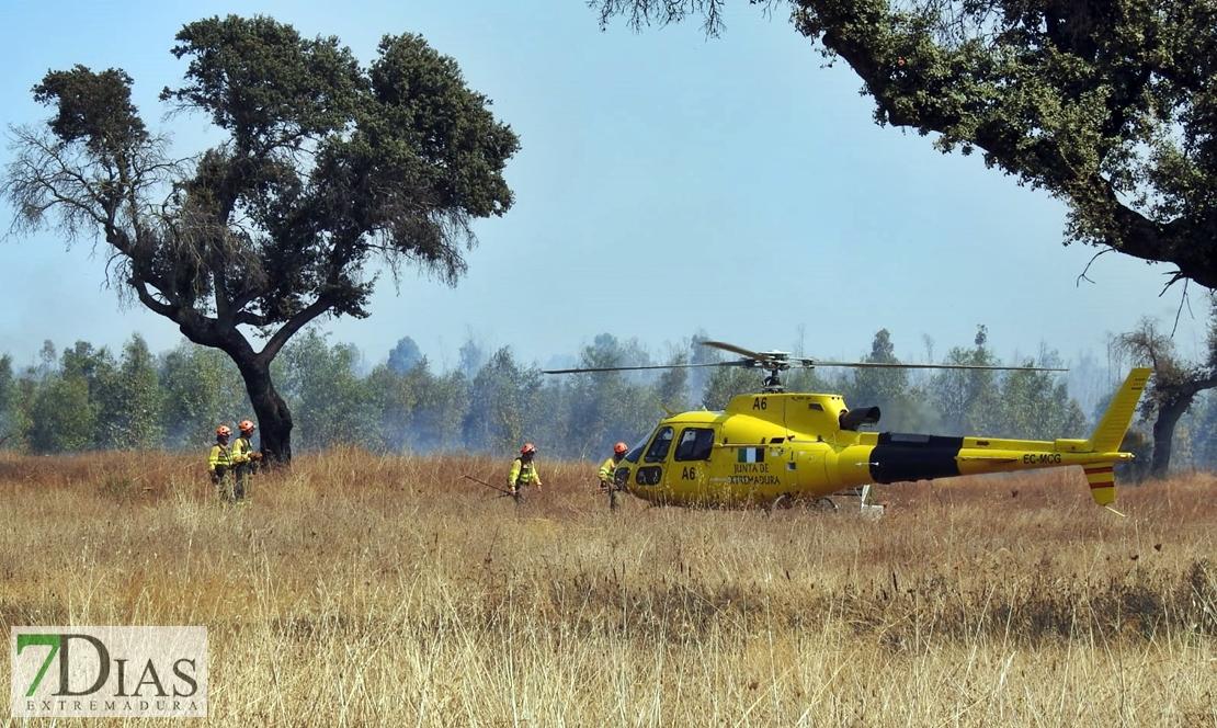 Imágenes del incendio forestal en Valdebótoa (Badajoz)