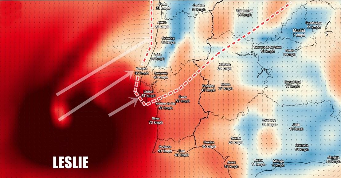 El Huracán Leslie tocará tierra entre Lisboa y Coimbra