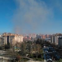 Incendio en la zona de La Paz-Valdepasillas, en Badajoz