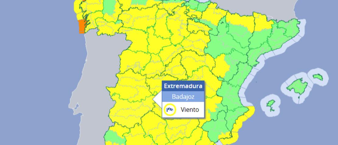 Alerta amarilla ante la previsión de lluvias y vientos en varias zonas de Extremadura