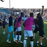 Los aficionados celebran la victoria del CD.Badajoz