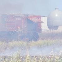 Incendio en una finca de la carretera de Olivenza