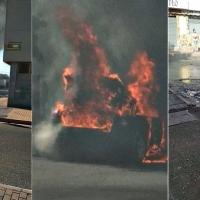 Sale ardiendo un vehículo en el Cerro de Reyes (Badajoz)