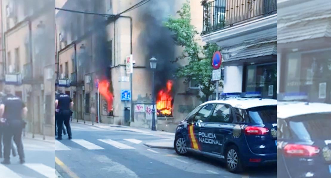 Se incendia la sede del sindicato UGT en Cáceres
