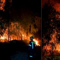 Incendio forestal cercano a la A-5