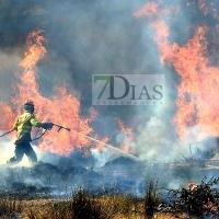 Incendio activo en Valdebótoa (Badajoz)
