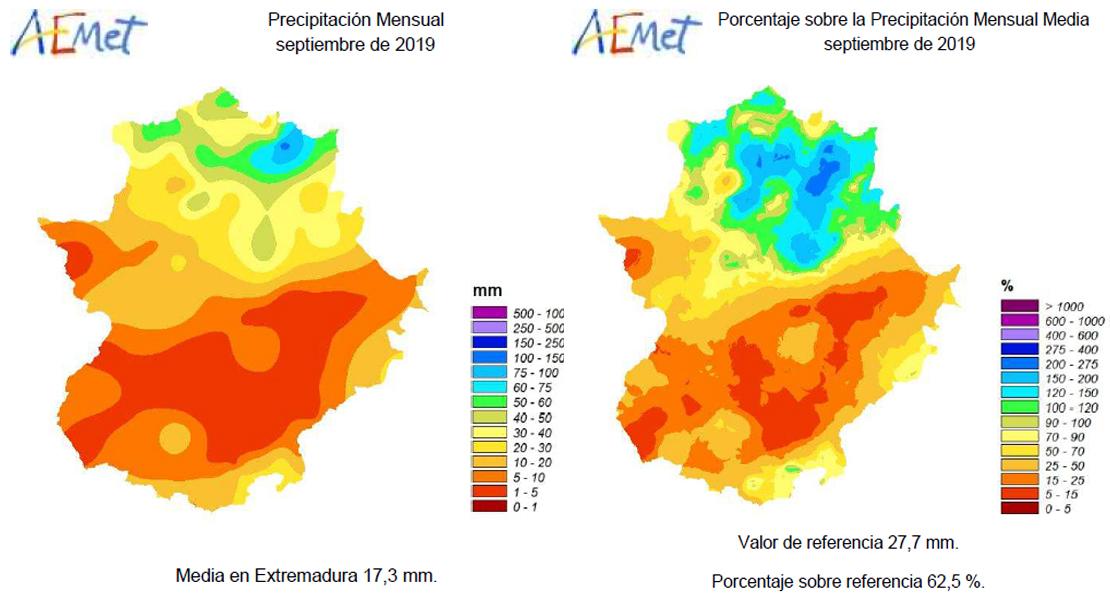Numerosas localidades no alcanzan los 5 mm de precipitaciones en Extremadura