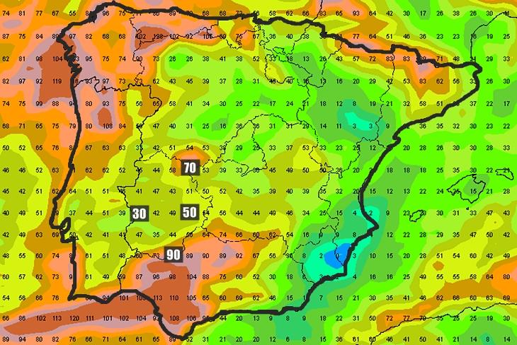 La próxima semana podría ser generosa en lluvias en Extremadura