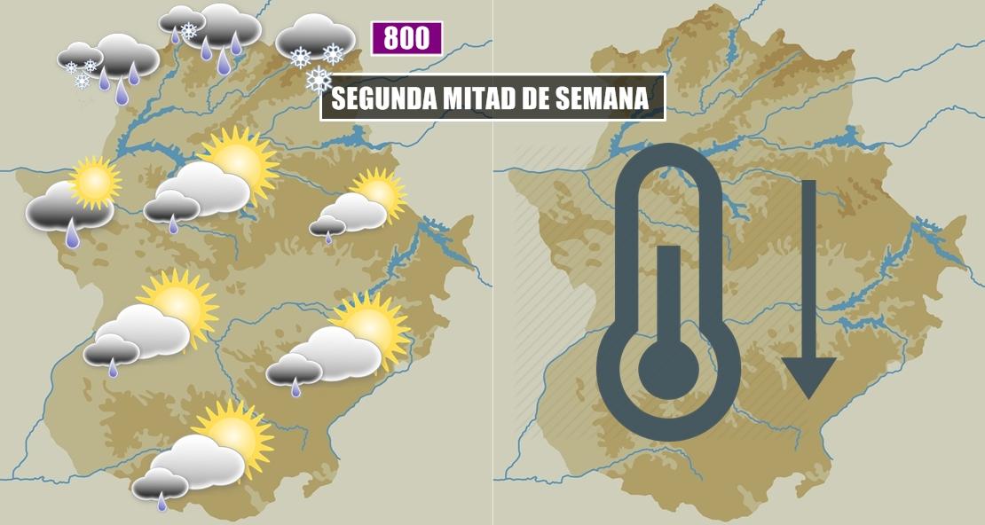 La cota de nieve caerá esta semana a los 800 metros en Extremadura