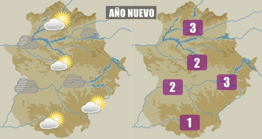Temperaturas mínimas bajas para el Año Nuevo en Extremadura