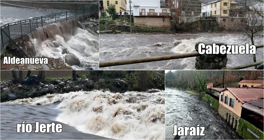 Algunos ríos del norte extremeño comienzan a desbordarse