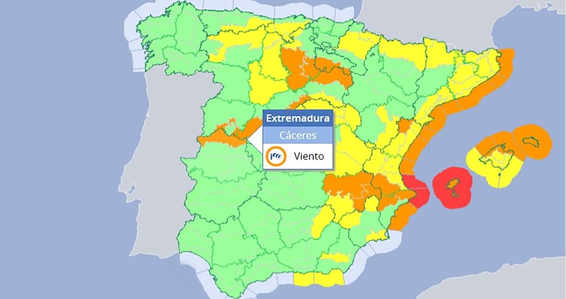 Alerta naranja por vientos de 100 km/h en el norte extremeño