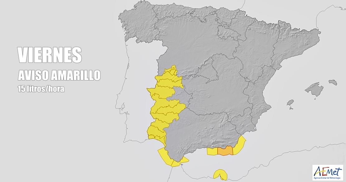 Activan la alerta amarilla en casi toda Extremadura por lluvias fuertes
