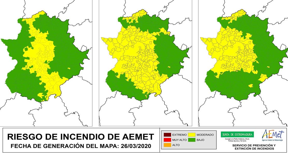 Numerosas localidades extremeñas en riesgo de incendio