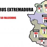 Coronavirus en Extremadura por áreas a 26 de marzo