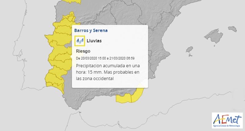 Amplían la alerta amarilla por fuertes lluvias a casi toda Extremadura