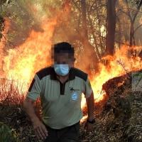 Incendio forestal entre Arroyo de San Serván y Lóbon (BA)