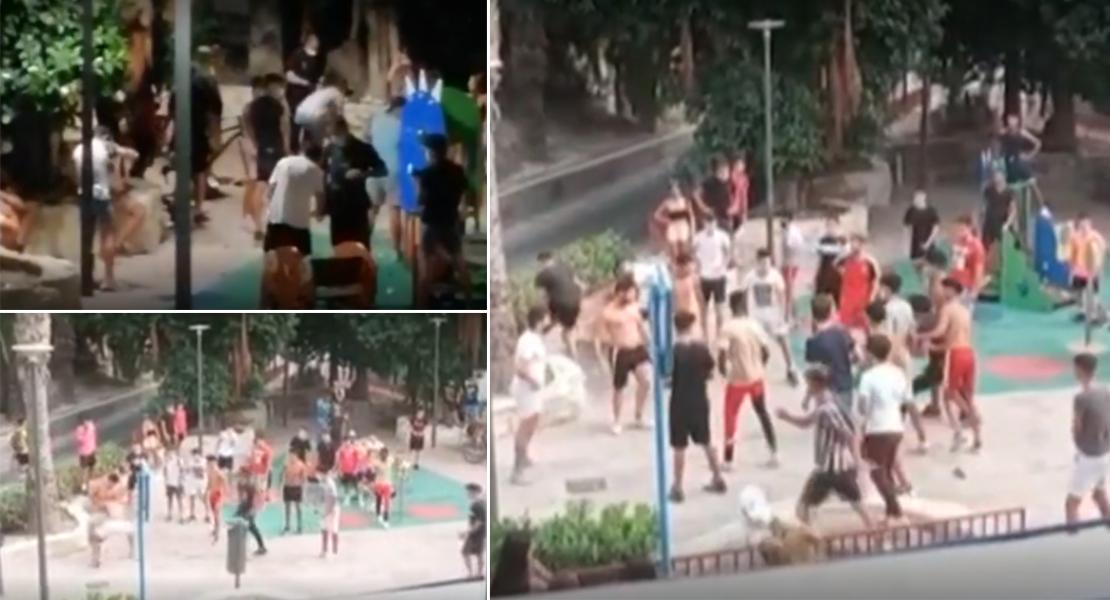 50 jóvenes pelean al aire libre en plena pandemia en Alicante