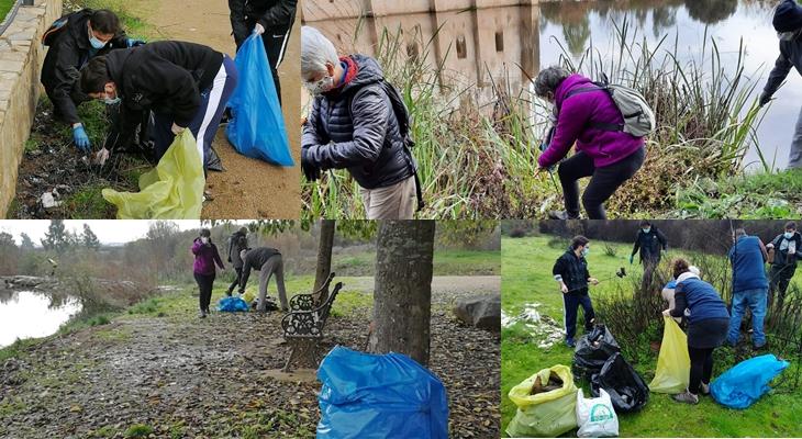 Recogen 270 kilogramos de residuos en el río Gévora a su paso por Badajoz