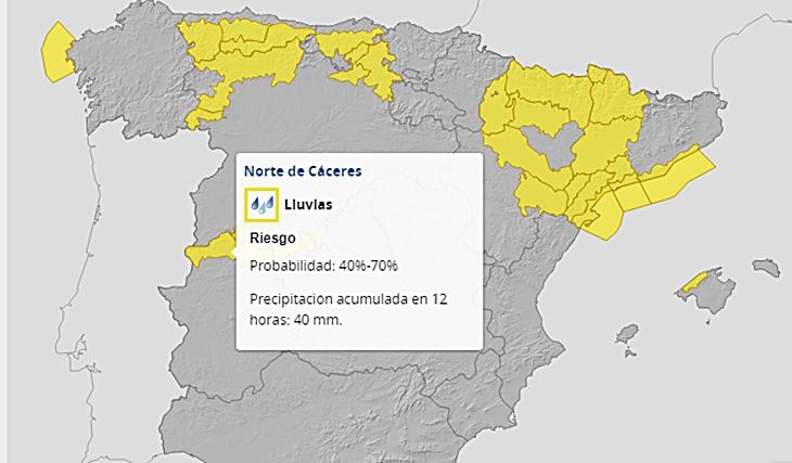 Mantienen la alerta amarilla por lluvias y viento en el norte extremeño