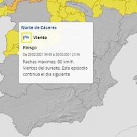 Alerta amarilla por fuertes vientos en el norte de Cáceres