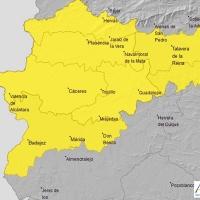 Varias zonas de Extremadura en alerta por lluvia y tormenta este sábado