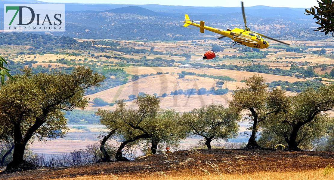 Amplio dispositivo para controlar un incendio forestal cerca de Jerez de los Caballeros (BA)
