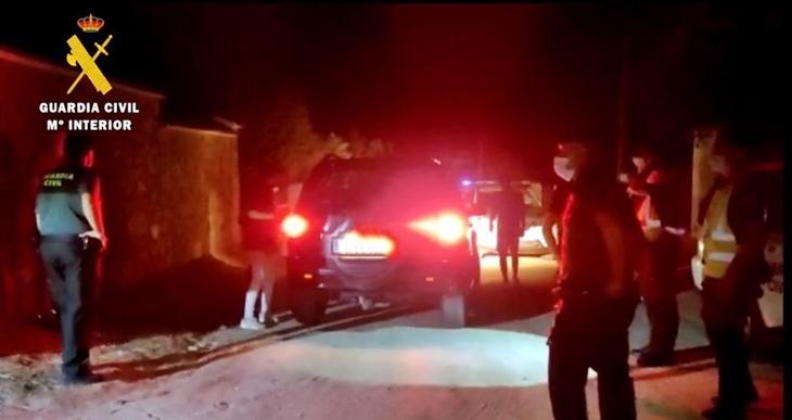 Gran despliegue para desalojar una fiesta ilegal en la provincia de Cáceres